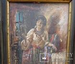 """Старинная картина в рамке """"Украиночка с зеркальцем"""" подписная. photo 3"""