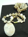 Ожерелье с кулоном + браслет из раковины настоящего жемчуга, фото №2