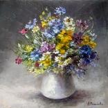 ''Полевые цветы''. 30х30 масло холст авторская картина