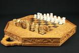 Шахматы. Резная доска. Ручная работа. Фигуры оникс. (0287)