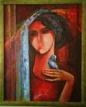 """Картина """"Девушка с попугаем"""" Н.Литвин"""