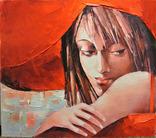 """Картина маслом """"Девушка в красной шляпе"""" 35*40."""