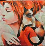 """Картина маслом """"Девушка с кошкой"""" 35*35."""