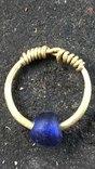 Височное кольцо ЧК с голубой бусиной AU