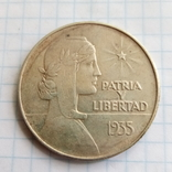 1 песо 1935 Куба серебро