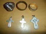 Кольцо печатка крестик 6 предметов в лоте, фото №2