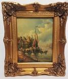 Картина Голландский пейзаж Подпись художника J.Wood Англия