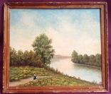 """Картина """"У реки"""". Антимонов В.В. Холст, художественные краски."""
