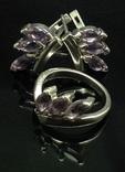 Кольцо, серьги, фиолетовые камни, фото №2