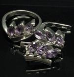 Кольцо, серьги, фиолетовые камни, фото №3