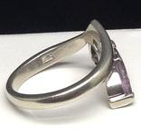 Кольцо, серьги, фиолетовые камни, фото №6