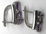 Кольцо, серьги, фиолетовые камни, фото №7