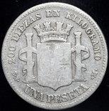 Испания 1 песета 1869 серебро photo 2