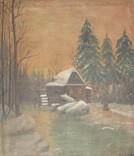Старинная картина. Водяная мельница в лесу. Н.Ф. Козловский. 93*82,5. Холст, масло.