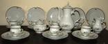 Кофейный сервиз 27 предметов Силезский фарфор шикарные рельефы bogucice porcelana