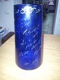 Ваза синее стекло 50-е годы, фото №3