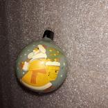 Шар ручная роспись дед мороз с елкой стекло толстое СССР
