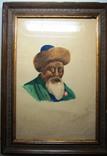 Портрет Джамбула Джабаева с непонятной подписью.