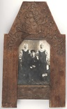 Фотография в национальной одежде с дукачами (8,5 х 11,5) в родной раме с резьбой