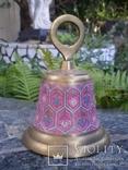 Коллекционный колокол колокольчик бронза росписной тяжелый