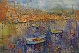 Пейзаж с голубой лодкой