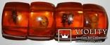 Браслет имитация янтаря(бакелит/прес.янтарь/эбоксит.смола и др.) с коллекцией насекомых., фото №4