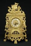 Каминные часы в латунном корпусе. Кварц. Высота 400 мм. Германия. (0510) photo 1