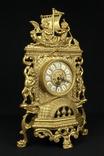 Каминные часы в латунном корпусе. Кварц. Высота 400 мм. Германия. (0510) photo 2