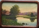 Старинная картина. Домик у пруда. Вечер. photo 1