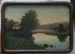 Старинная картина. Домик у пруда. Вечер. photo 2