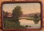 Старинная картина. Домик у пруда. Вечер. photo 3
