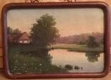 Старинная картина. Домик у пруда. Вечер. photo 5