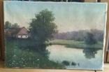 Старинная картина. Домик у пруда. Вечер. photo 11