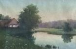 Старинная картина. Домик у пруда. Вечер. photo 12
