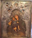 Афонская Икона « Достойно есть» серебро 84, золочение