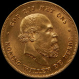 10 гульденів 1875 року, Нідерланди, Вільям, золото
