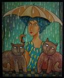 """Холст,Масло."""" Трое под зонтом .'' 40 * 50 см. Гурский А."""