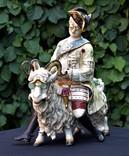 Большая скульптурная композиция Портной на козле стиль Meissen