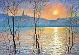 """Пейзаж """"Над Києвом сонце сідає"""" (2011 р., полотно на картоні, олія 35х50 см.)"""
