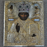 Икона С.Николай Чудотворец 1840-41гг.Оклад серебро 84 пр.310*270 мм. photo 2