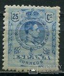 1909 Испания Король Альфонсо XIII 25c голубой контр номер, фото №2