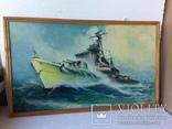 Картина эсминец вмф ссср, масло, холст, 43х73, О.Олешко 1977р. photo 9