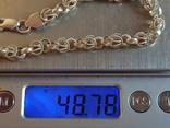 Цепочка 925 серебро + Браслет серебро 925 проба. Вес 48 г., фото №9