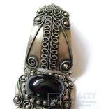 Винтажный браслет, филигрань, зернь, камень. Ручная работа, не литьё. photo 6