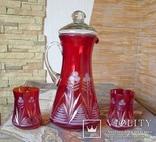 Графин СССР рубиновое резное стекло + 2 стакана. Высота - 32 см. photo 1