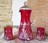 Графин СССР рубиновое резное стекло + 2 стакана. Высота - 32 см. photo 2