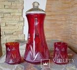 Графин СССР рубиновое резное стекло + 2 стакана. Высота - 32 см. photo 4