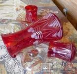 Графин СССР рубиновое резное стекло + 2 стакана. Высота - 32 см. photo 7