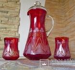 Графин СССР рубиновое резное стекло + 2 стакана. Высота - 32 см. photo 8