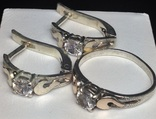 Кольцо, серьги, цирконы, позолота, фото №5